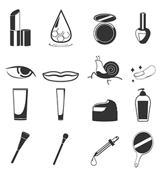 Cosmetic beauty black icon set vector
