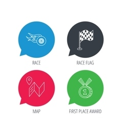 Race flag map and winner award icons vector image