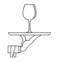glass of wine on a tray icon outline style vector image