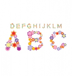 alphabet made by color flowers vector image