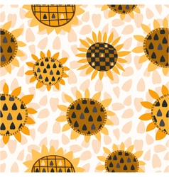 Seamless pattern with sunflower and seeds vector