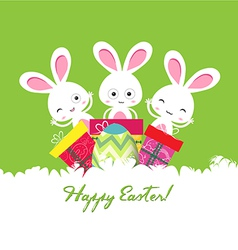 Happy easter card with egg and gifts vector