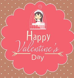 Cute valentines card and girl in cage vector