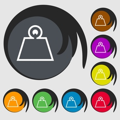 Weight icon sign symbol on eight colored buttons vector