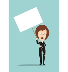 Business woman holding signboard with copyspace vector