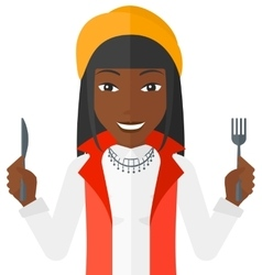Hungry woman waiting for food vector