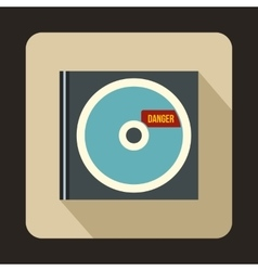 CD with danger lettering icon flat style vector image