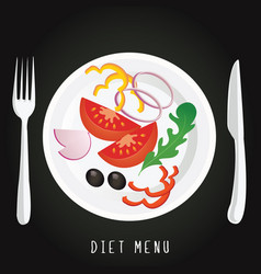 A plate with the vegetables on a black background vector