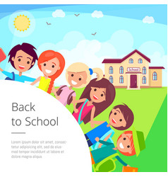 back to school cartoon with kids vector image