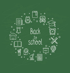 Back to school concept with thin line icons vector