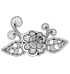 beautiful black and white floral pattern design el vector image vector image