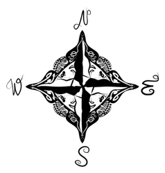 Black and white of artistic compass vector