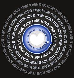 Blue cup of heart in milk vector