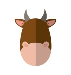 Brown cow icon cute animal design graphic vector