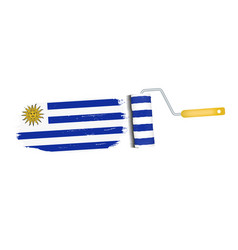 brush stroke with uruguay national flag isolated vector image