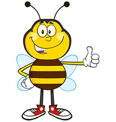 Bumble Bee Cartoon Giving the Thumbs Up vector image vector image