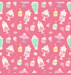 candies and sweets cartoon style seamless pattern vector image vector image