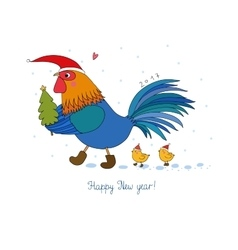Cartoon rooster cute little chickens and vector image vector image
