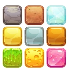 Cartoon square buttons set app icons vector image