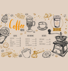 coffee and bakery restaurant menu vector image