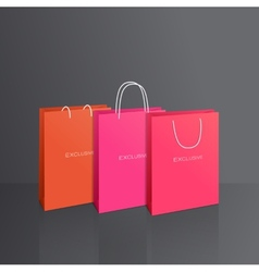 Colorful paper bags set isolated on grey vector image