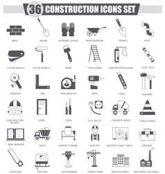 Construction and building tools black icon vector image