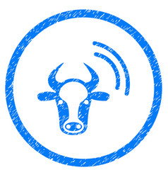 Cow radio signal rounded grainy icon vector