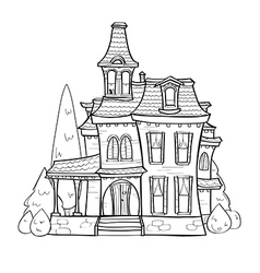 Cute black and white house vector