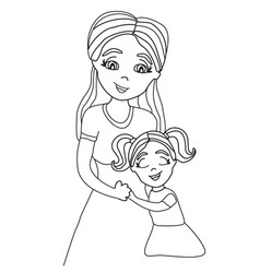 daughter hugging her mom vector image vector image