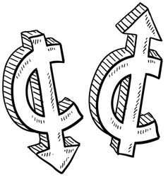 doodle currency up down cent vector image vector image