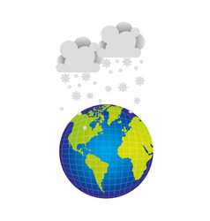 Earth planet with clouds snow icon vector