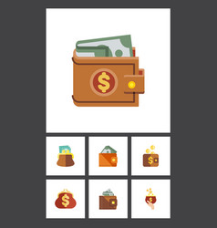 flat icon wallet set of pouch finance wallet and vector image vector image