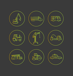 Flat outline icons of special transport vector