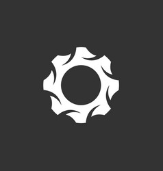 gear logo icon on black background vector image