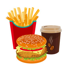 Hamburger fried potatoes in red package and cup vector