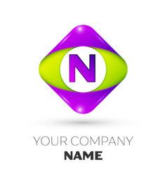 Letter n logo symbol in colorful rhombus vector