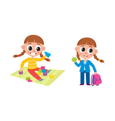 little girl playing at home and going to school vector image