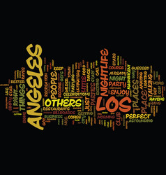Los angeles nightlife text background word cloud vector