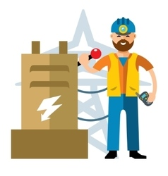 Man electricity flat style colorful vector