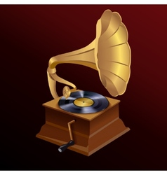 Music gramophone print vector image