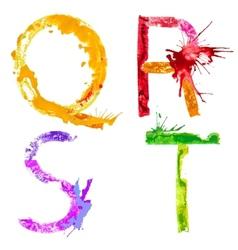 paint splash font QRST vector image vector image