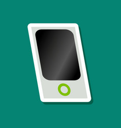 Paper sticker on stylish background mp3 player vector