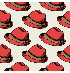 Red hat retro seamless background vector