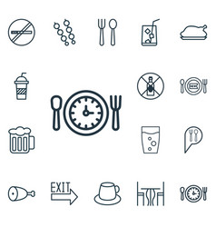 Set of 16 eating icons includes soda drink fresh vector