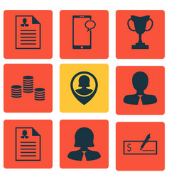Set of 9 management icons includes curriculum vector