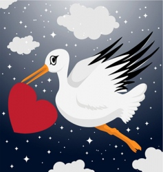 stork with heart symbol vector image