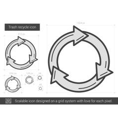 Trash recycle line icon vector