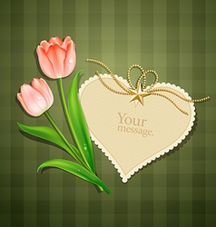 Tulips and modern card heart paper vector image