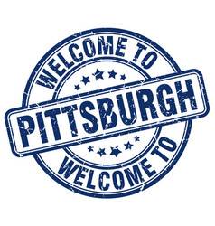 Welcome to pittsburgh blue round vintage stamp vector
