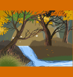 Wild river scene vector